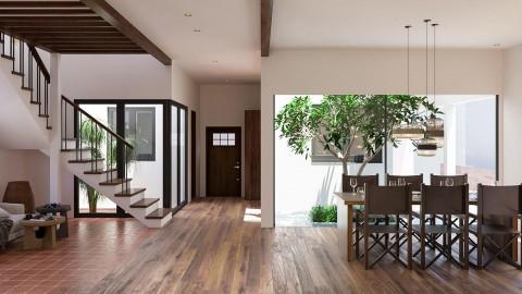 3つの中庭を持つ、スリランカスタイルの家