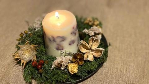 クリスマスに飾る【ミニリース&アロマソイキャンドル作り】