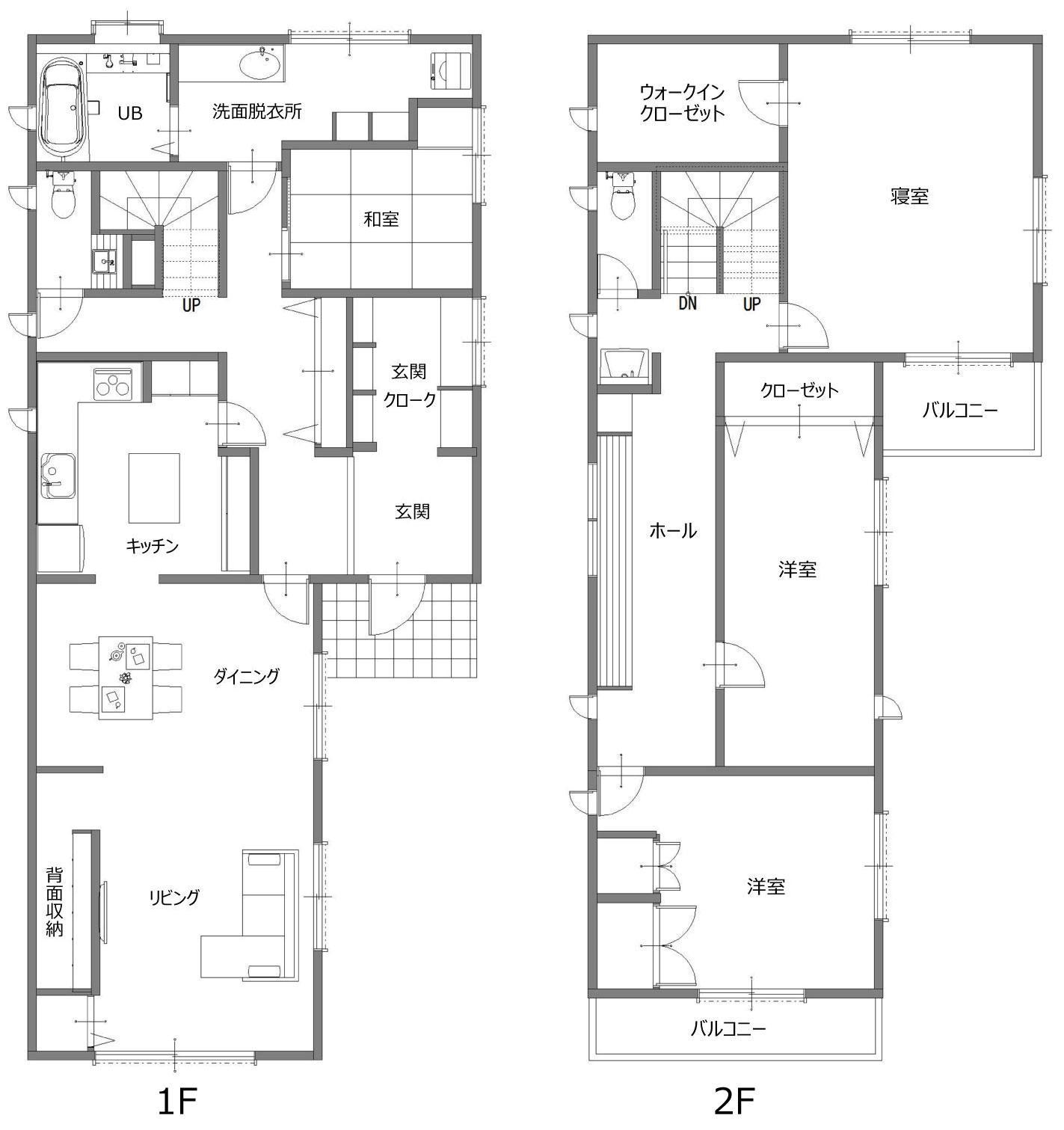 家中の導線を再構築した住まいの間取図