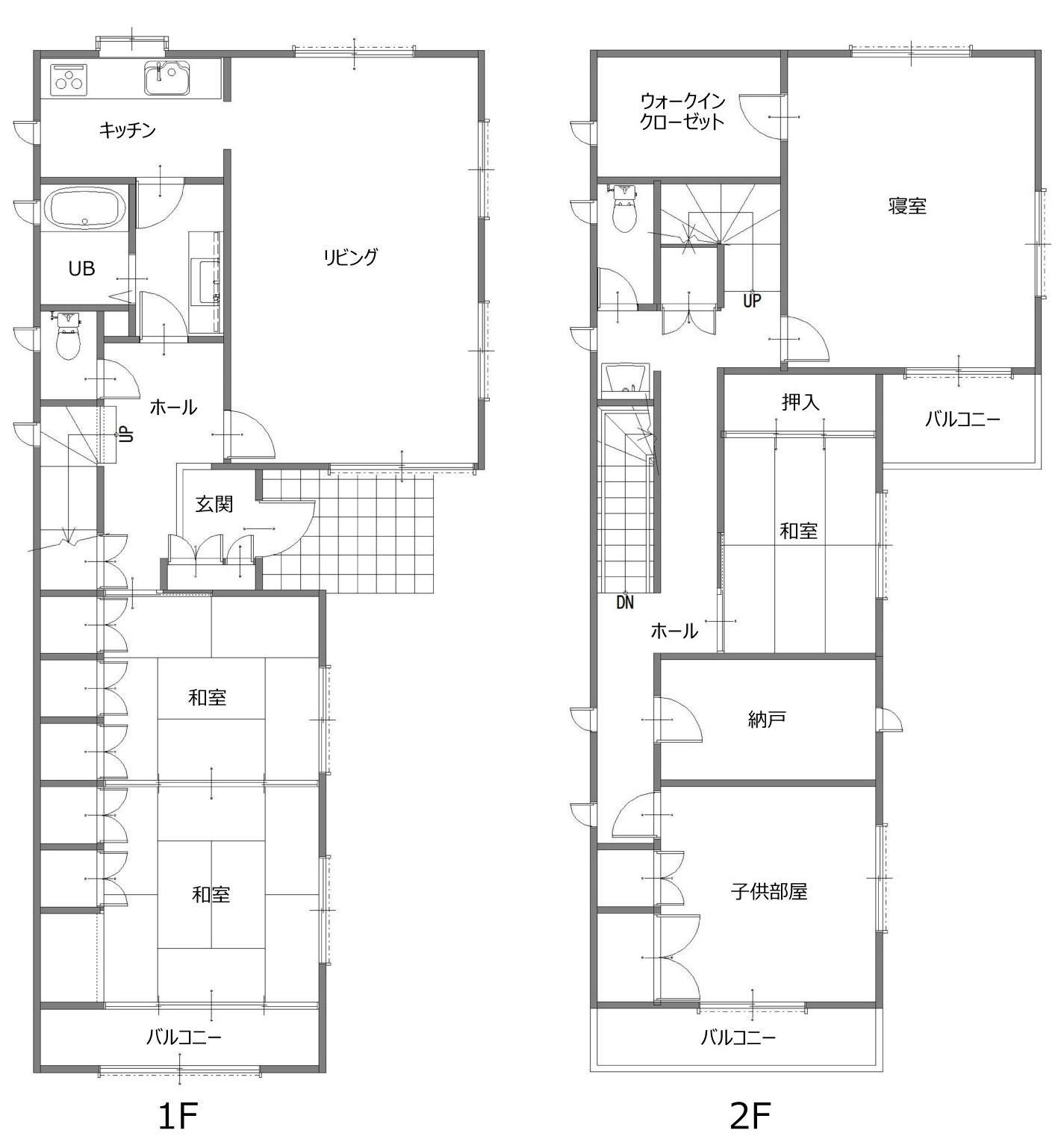 家中の導線を再構築した住まいのリノベーション前の間取図