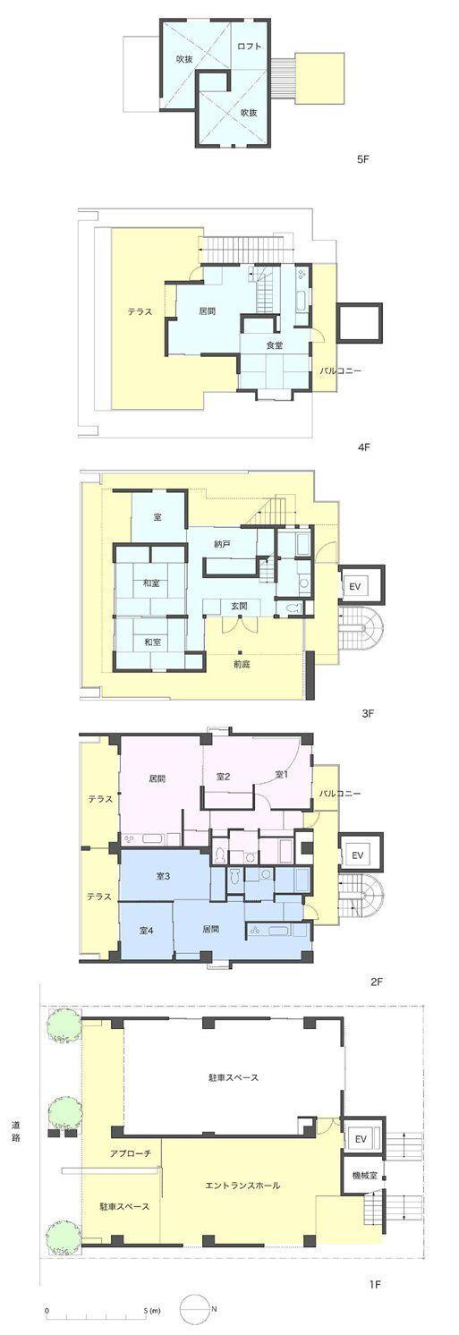 賃貸住居の屋上は中庭のあるオーナーの家の間取図