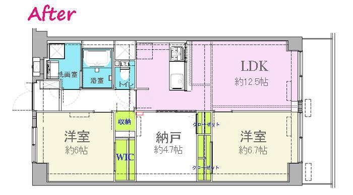 納戸とWIC+クローゼットで約7帖分の収納スペースの間取図