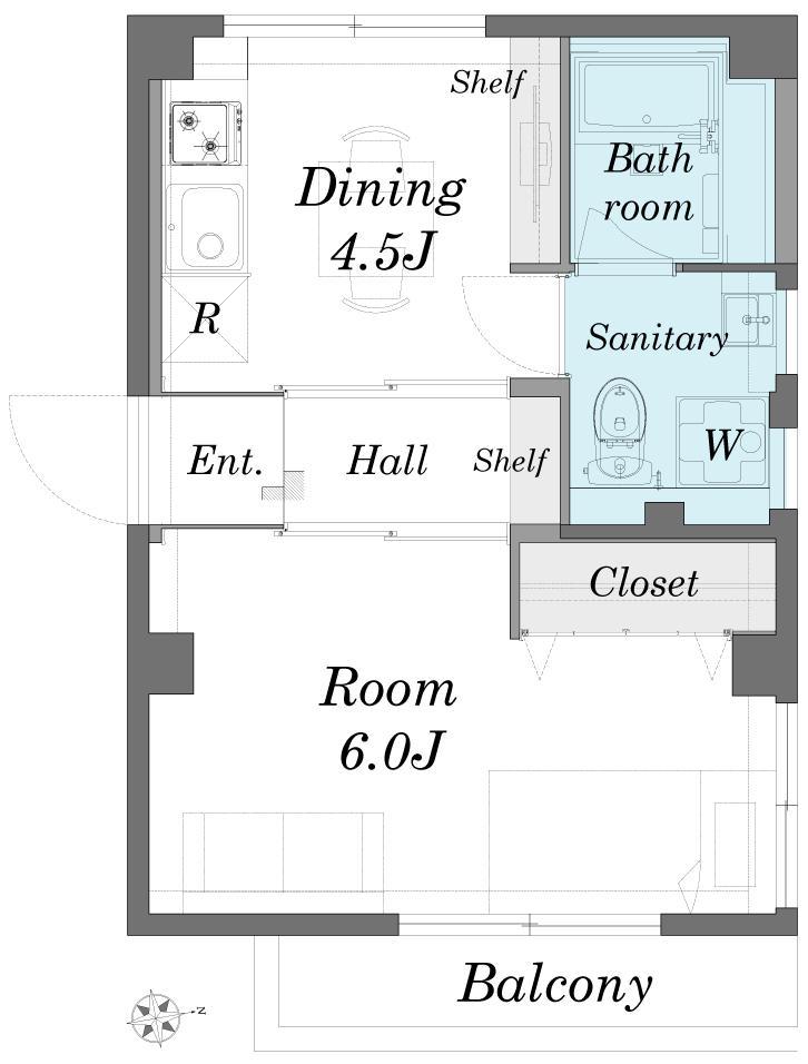 築51年の1DKを土間と吊戸で区切るアクティブな空間づくりの間取図