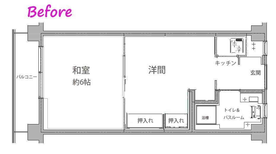 古い和室をスタイリッシュなワンルームにのリノベーション前の間取図