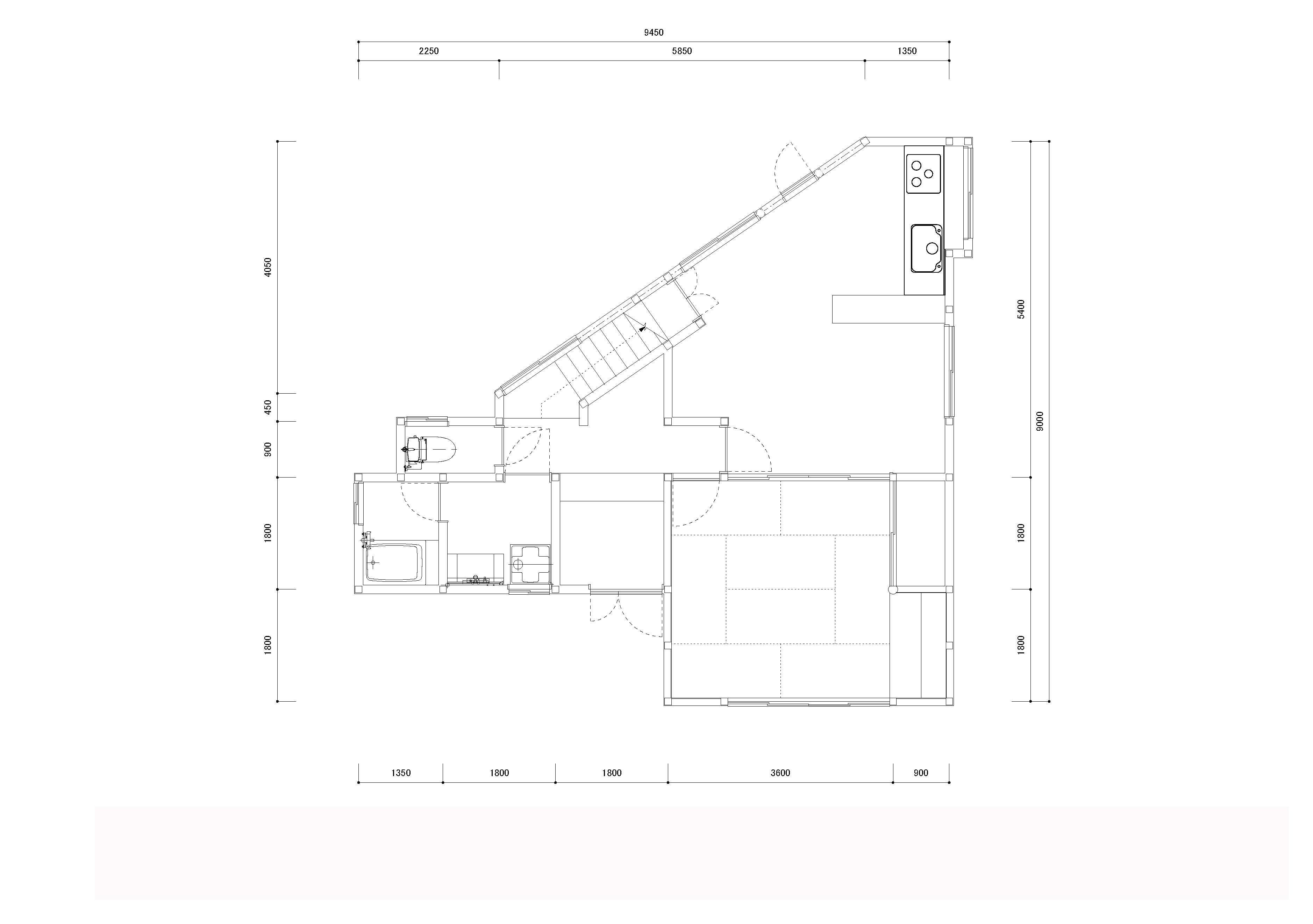 動線と収納を見直した家のリノベーション前の間取図