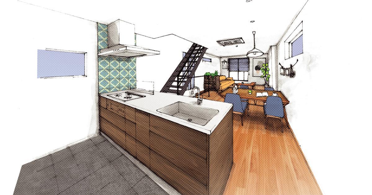 世田谷区N様邸 輸入タイルや3種類の床材など素材を楽しむ家のパース/模型/CG/スケッチなど