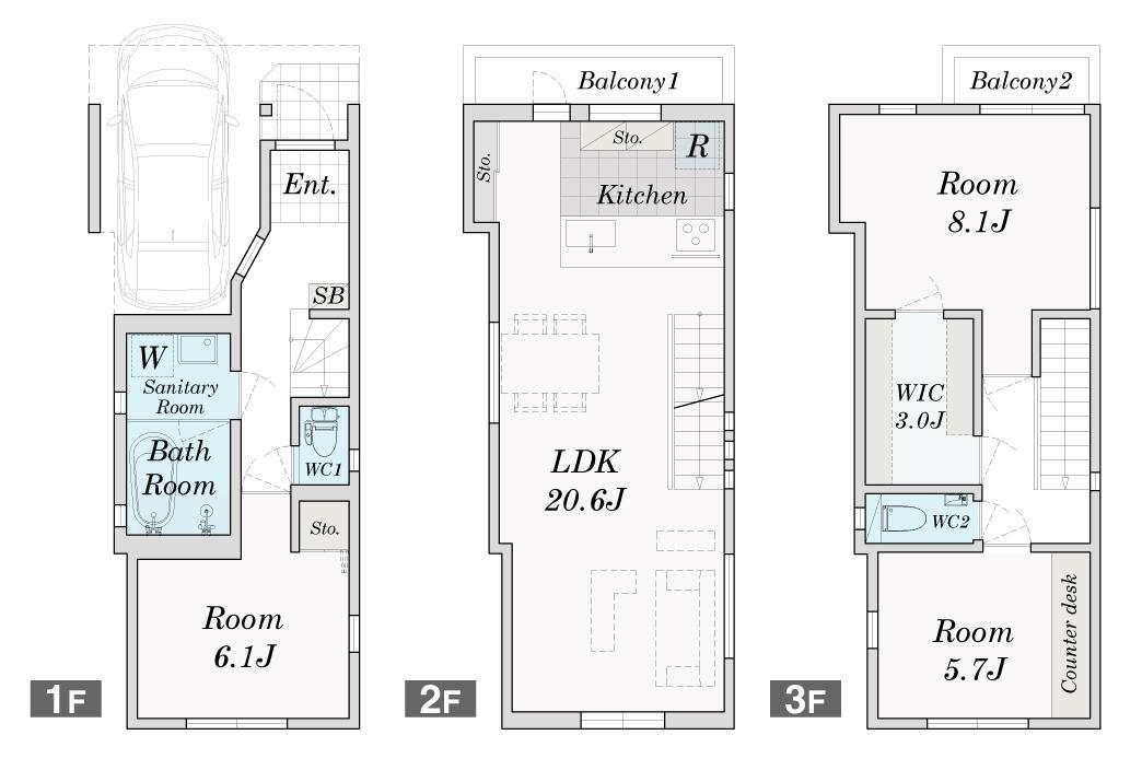 世田谷区N様邸 輸入タイルや3種類の床材など素材を楽しむ家の間取図