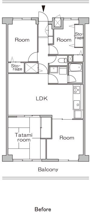 白×茶のコントラストがモダン。レトロな家具が映えるのリノベーション前の間取図