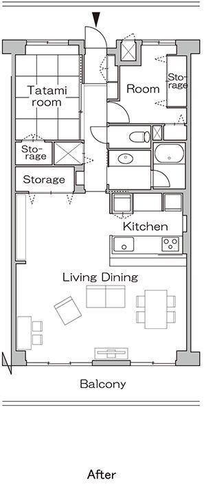 白×茶のコントラストがモダン。レトロな家具が映えるの間取図