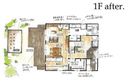定年後の時間をゆったり暮らす 風通しの良い2人暮らしの家の間取図
