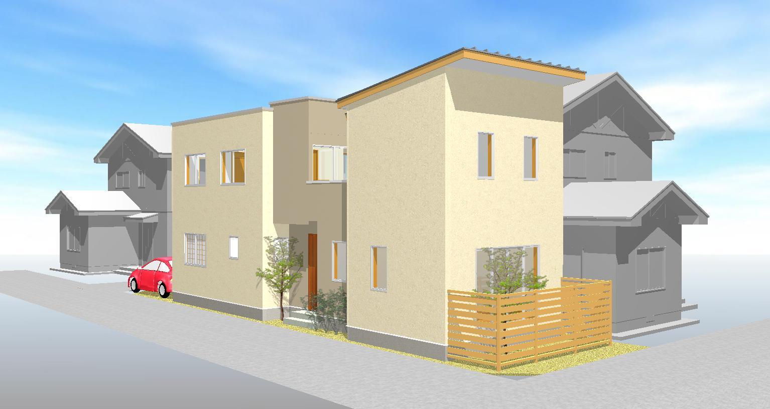密集地の明るい機能的な家のパース/模型/CG/スケッチなど