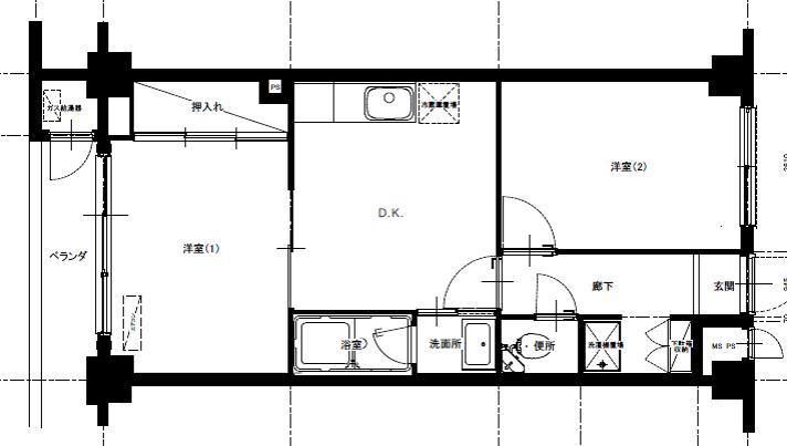 六本木邸のリノベーション前の間取図