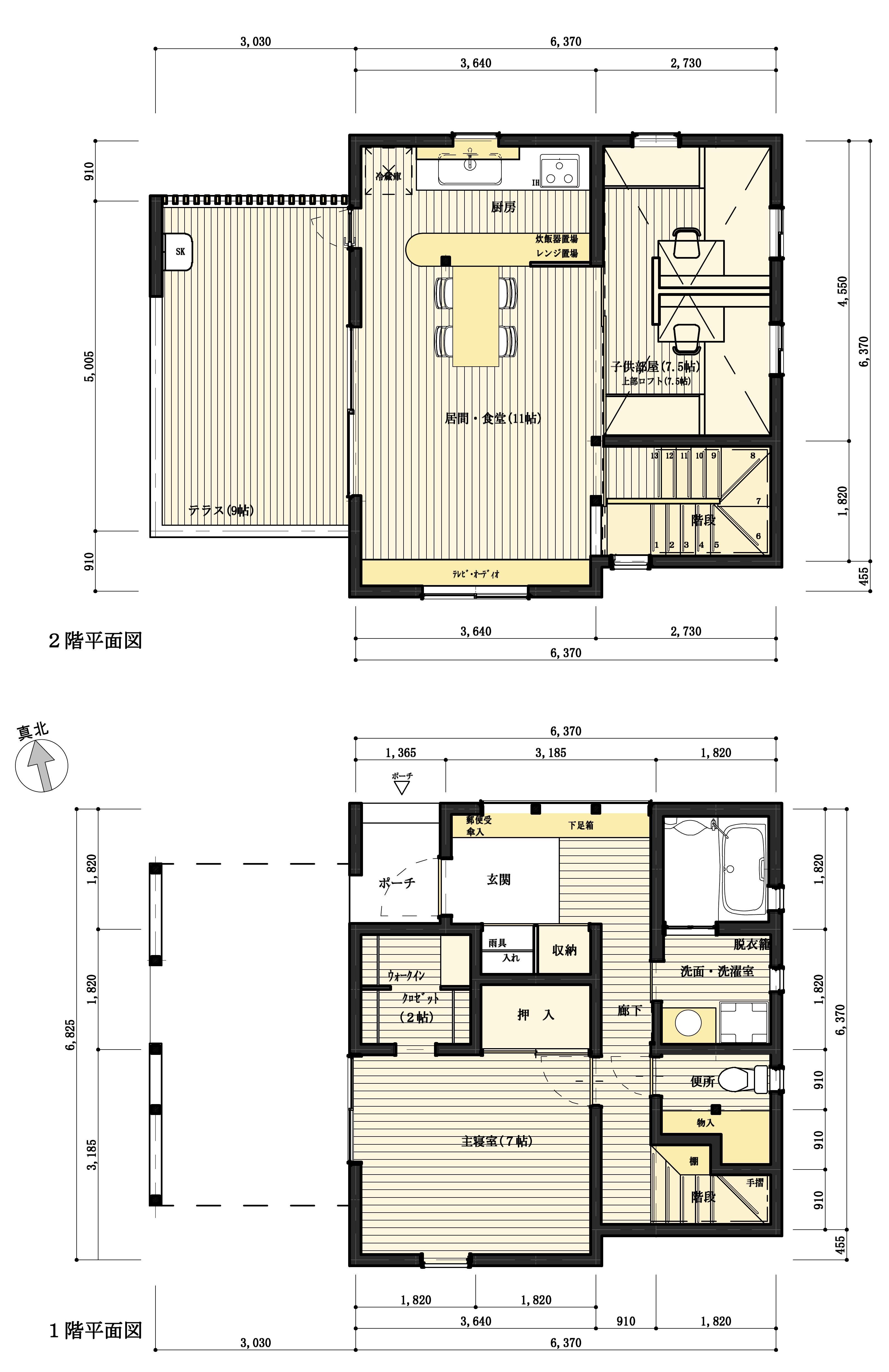 超ローコスト住宅/Siiの宮の間取図