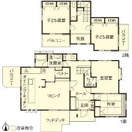 T邸・オリジナルキッチンと家具で光と風が遊ぶ憧れのリビングの間取図