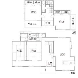 T邸・オリジナルキッチンと家具で光と風が遊ぶ憧れのリビングのリノベーション前の間取図