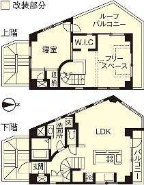 I邸・昭和時代の喫茶店のようないえの間取図