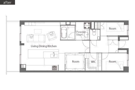 リビングに集う家族の空間の間取図