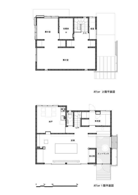 和雑貨ショップ+手仕事ギャラリー  築35年の耐震補強・全面改修の間取図
