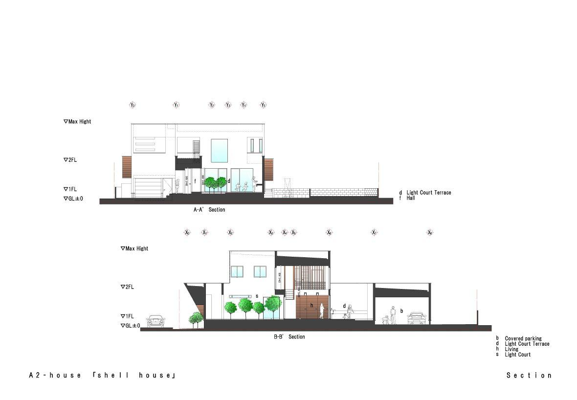 A2-house「shell house」の間取図