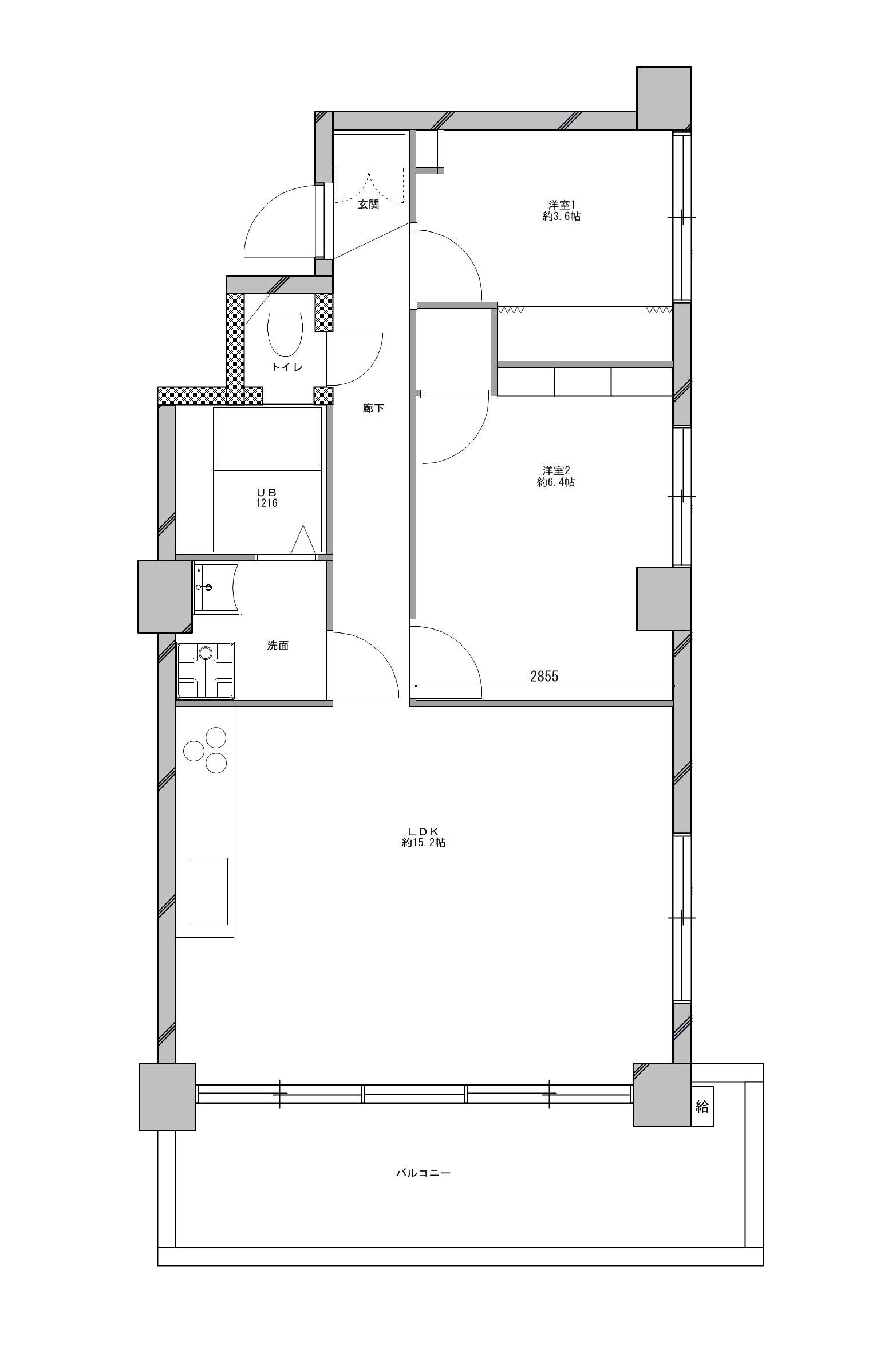 渋谷区 Y邸 ミッドセンチュリーな空間のリノベーション前の間取図