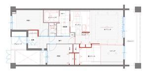 ペニンシュラ型キッチンはホテルライクリノベーションによくお似合いの間取図