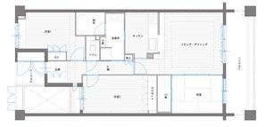 ペニンシュラ型キッチンはホテルライクリノベーションによくお似合いのリノベーション前の間取図