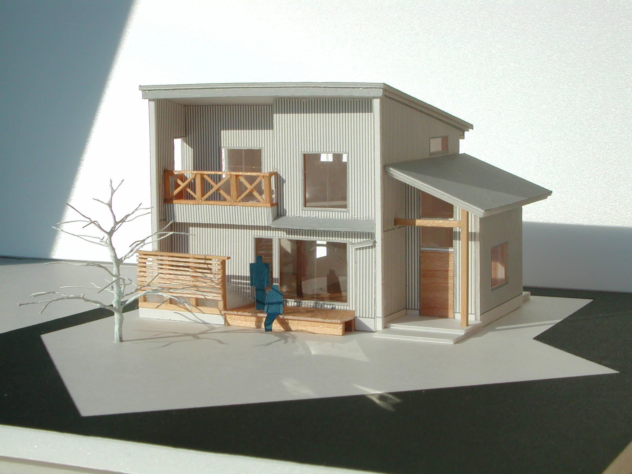 バイクガレージの木の家のパース/模型/CG/スケッチなど