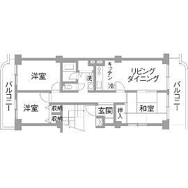 K邸・最大限の空間を確保した上質なインテリアのリノベーション前の間取図