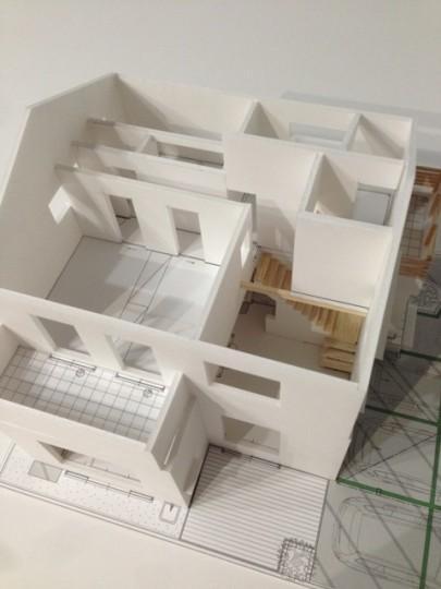 『浮き書斎の家』寝室から独立した斬新な書斎のある家のパース/模型/CG/スケッチなど