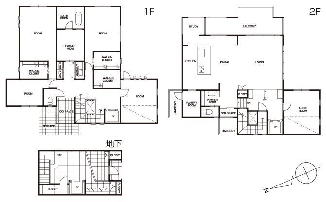T様邸「斬新なプランで遊びごころを取り入れた開放的な家」の間取図