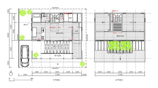 『1つの軒下/2つの縁側/4つの和』のパース/模型/CG/スケッチなど