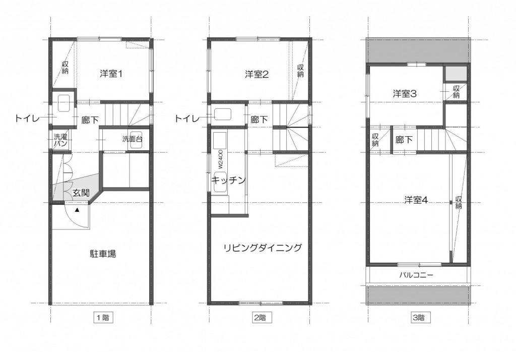 東京都新宿区・戸建てを自然素材の暖かさとお好みテイストでのリノベーション前の間取図