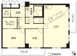 I邸・斜めに配置したキッチンで、動きと変化をの間取図