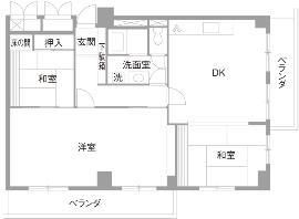 I邸・斜めに配置したキッチンで、動きと変化をのリノベーション前の間取図