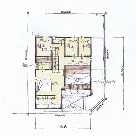 『クライミングウォールの家』家族の絆を深める心地のよい家の間取図