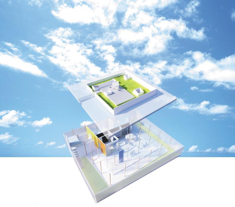 『菜園ののったフラット』3方向にひらいたコートハウスのパース/模型/CG/スケッチなど