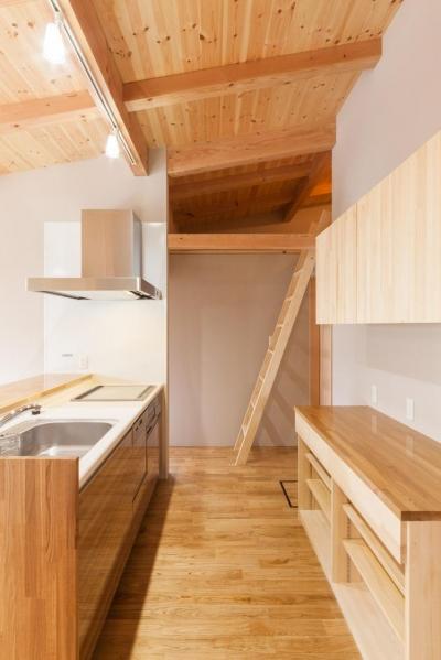 コンパクトなセミオープンキッチン (飯島の家)