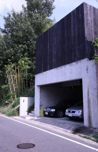 インナーガレージのある外観 (YU邸)