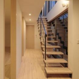 オープン型階段のある明るい廊下