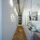 廊下とガラス張りのベッドルーム