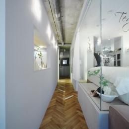 「あなたらしく。ファッションのように」F邸-廊下とガラス張りのベッドルーム