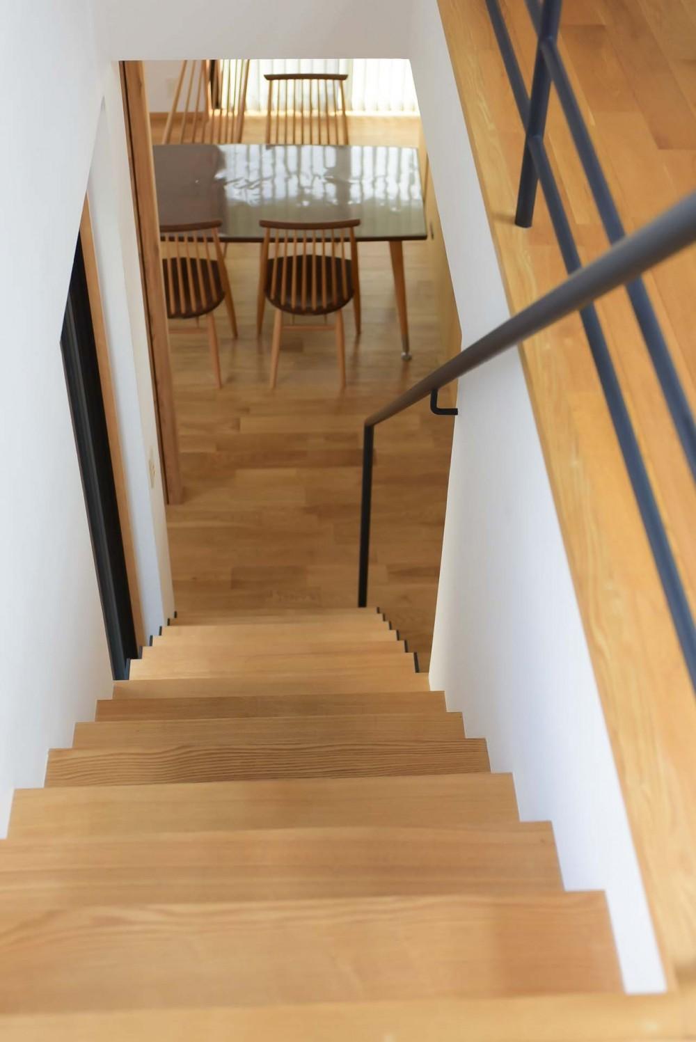 埼玉県北鴻巣の家 (階段からダイニングを見下ろす)