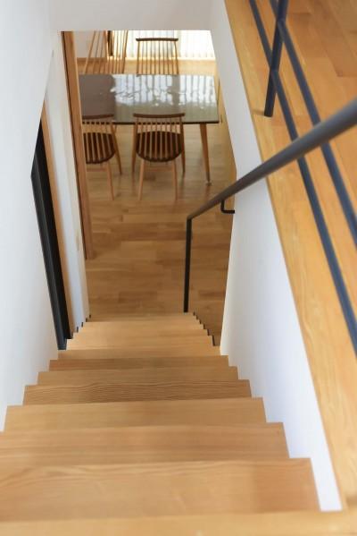 階段からダイニングを見下ろす (埼玉県北鴻巣の家)