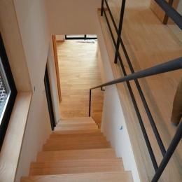 北鴻巣の家 (階段からダイニングを見下ろす)