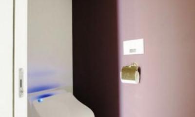 壁紙がアクセントカラーのトイレ|中古マンションリノベーション|Y様邸