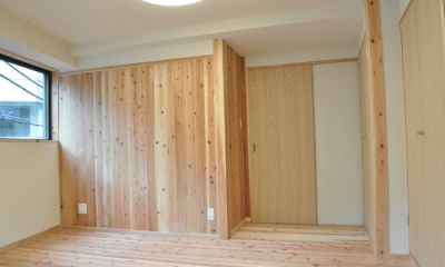 杉板・珪藻土によるリフォーム その2 (寝室)