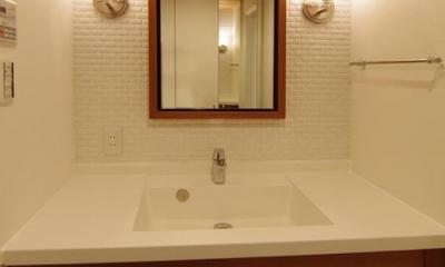 高級感溢れる洗面スペース|都心の森を臨む ビンテージマンションリフォーム