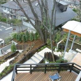 室内温室が楽しい!!土間テラスのある家 (三角デッキテラスを2階から見下ろす)