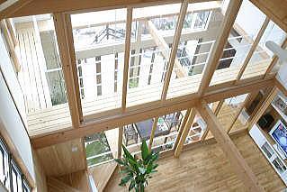 室内温室が楽しい!!土間テラスのある家の部屋 キャッツウォークからの見下ろし