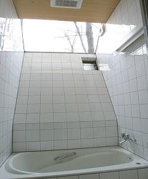 室内温室が楽しい!!土間テラスのある家の部屋 大きな三角トップライトのあるバスルーム